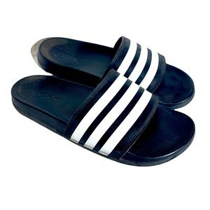 ADIDAS BLACK AND WHITE RUBBER SLIDES size 6